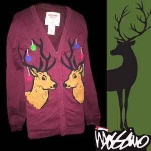 "S🆕Mens Cardigan Christmas ""Ugly"" Reindeer Sweater"
